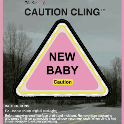 Pink New Baby Caution Cling