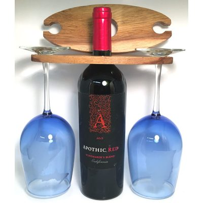 Solid Wood Wine Glass and Wine Bottle Holder