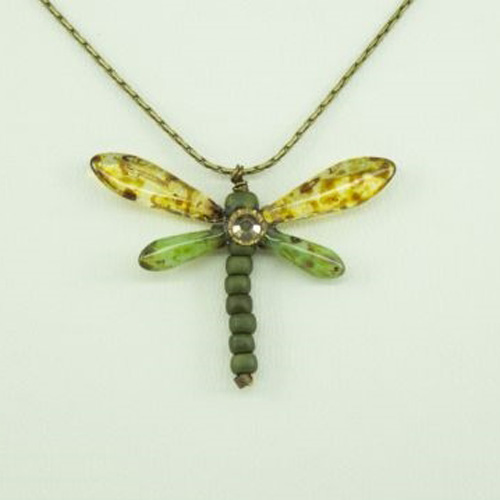 Brown Marble and Green Baby Dragonfly Necklace