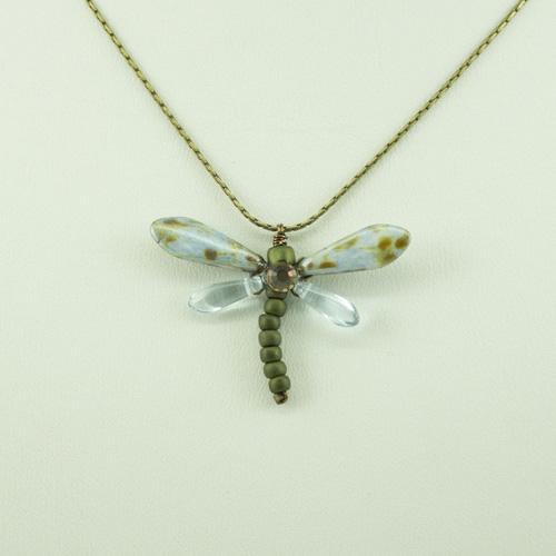 Cornflower Baby Dragonfly Necklace