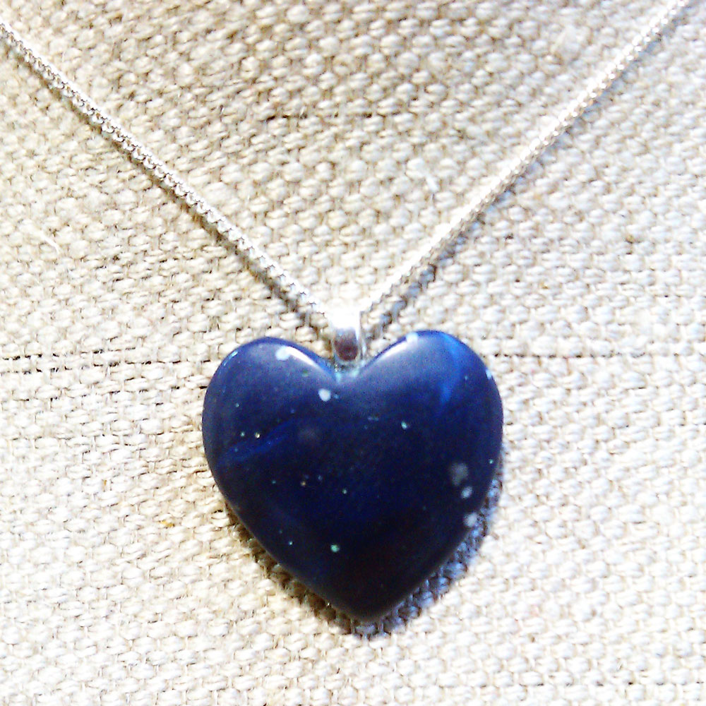 Leland Blue Heart Necklace Heart of Lake Michigan Stone