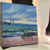 Mackinac Bridge From The South Oil Painting