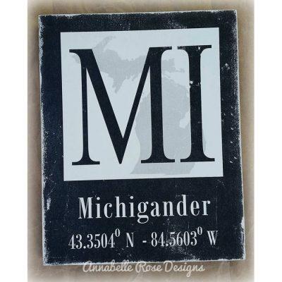 Michigander Longitude & Latitude Word Art Sign