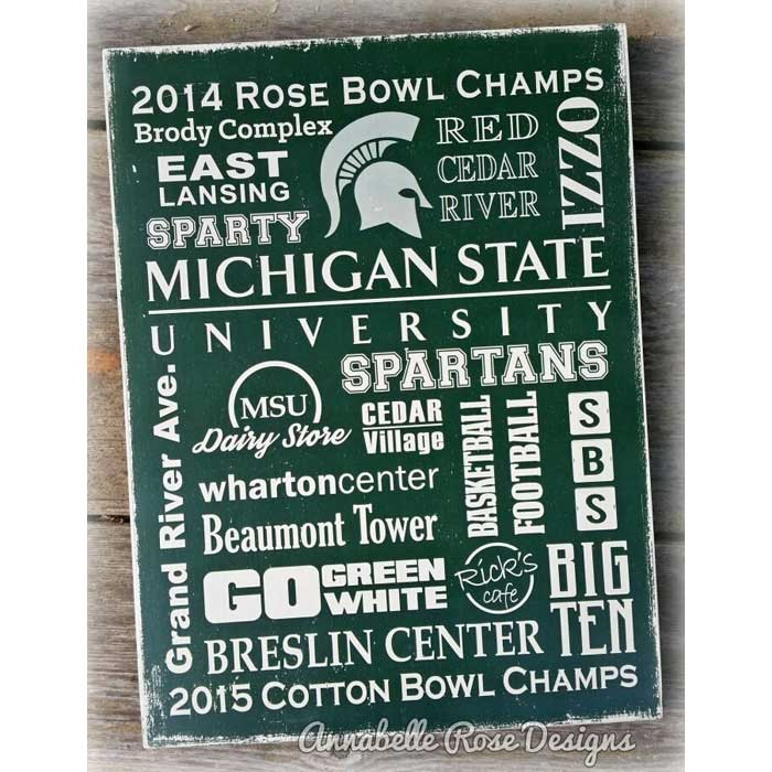 MSU ~ Michigan State University Word Art Sign