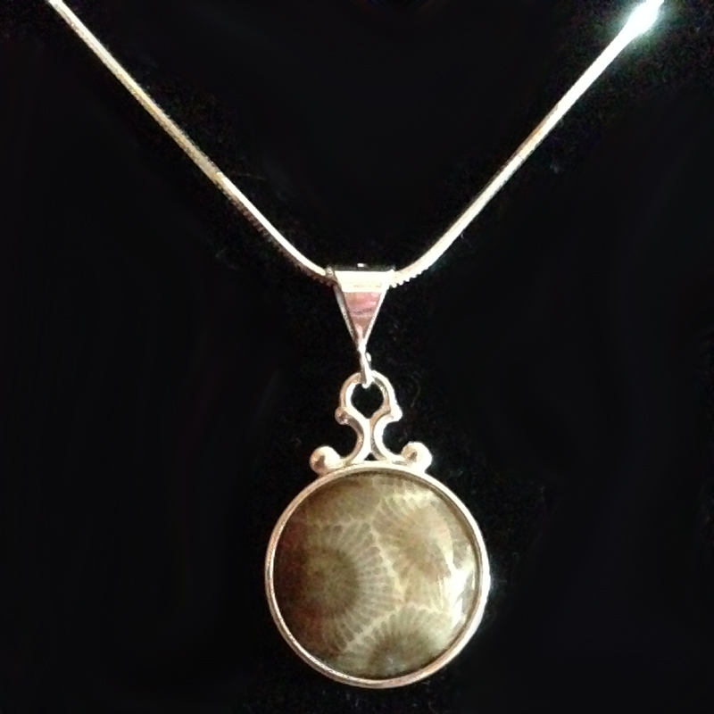 Round Petoskey Stone Necklace
