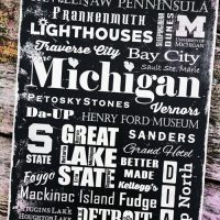 Pure Michigan Cities & Attractions Word Art Sign