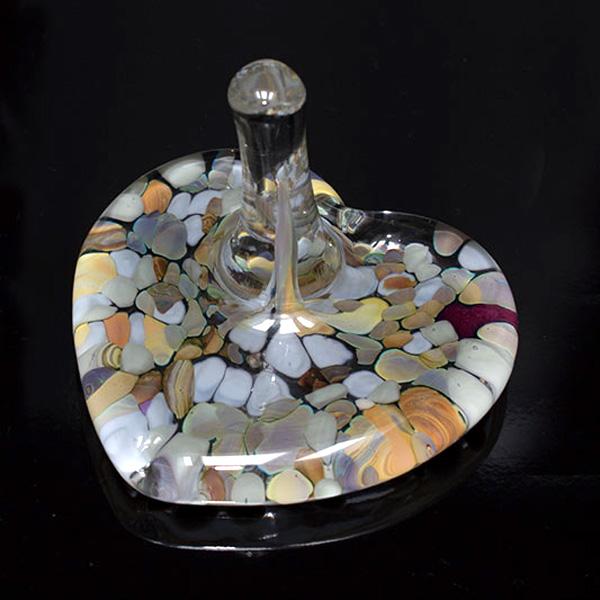 Pebble Blown Glass Heart Ring Holder
