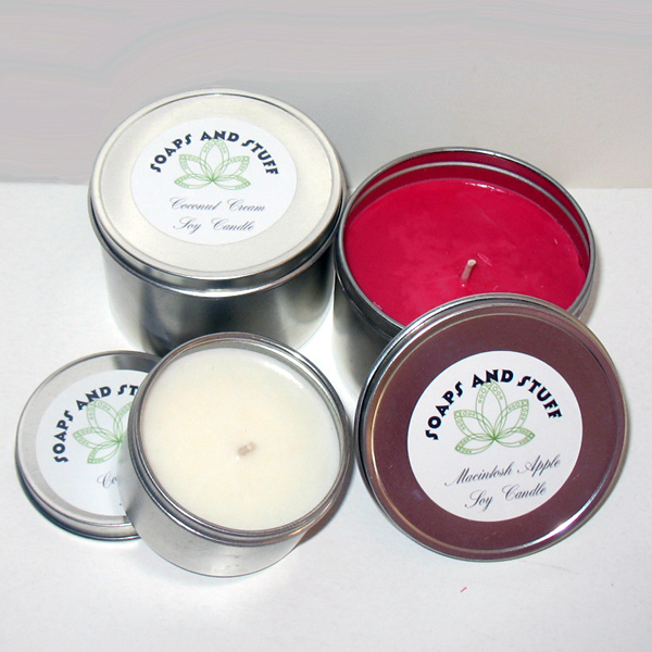 coconut cream and macintosh apple candle tins