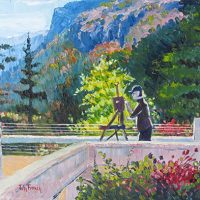 The Artist at Porcupine Mountains Oil Painting