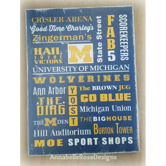 U of M~ University of Michigan Word Art Sign