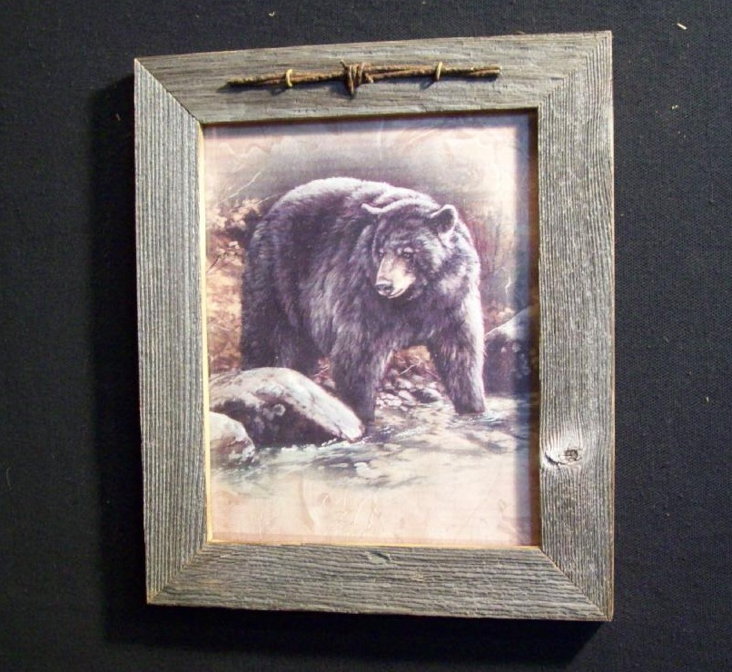 Barnwood Framed Bear in Brook Picture Trimmed with Barbed Wire