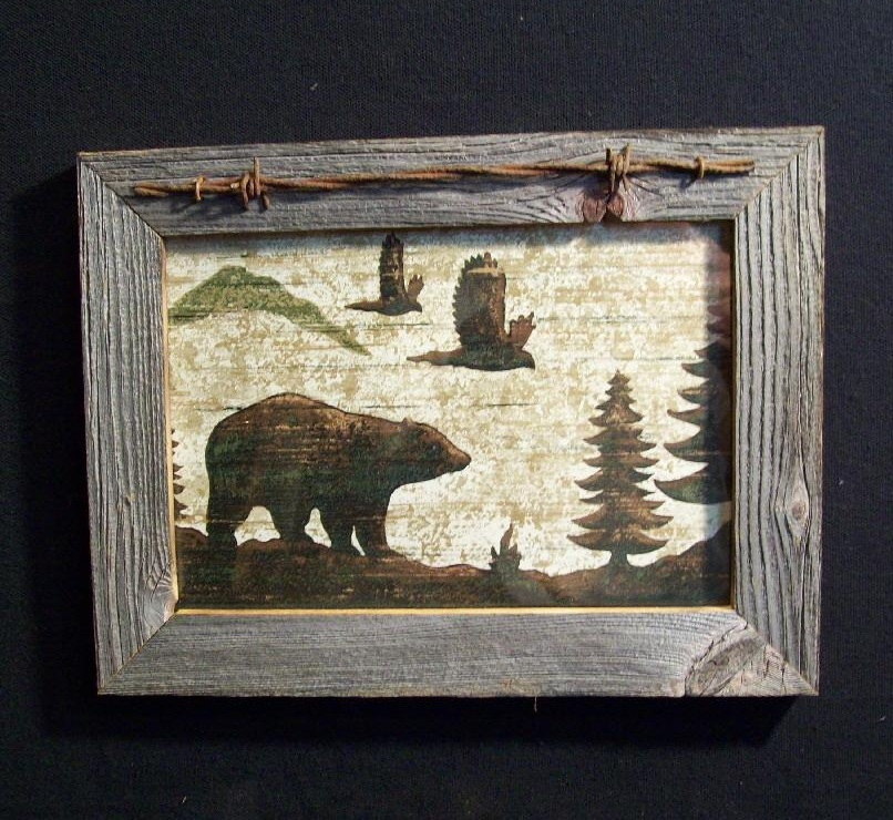 Barnwood Framed Bear And Eagles Picture Trimmed With