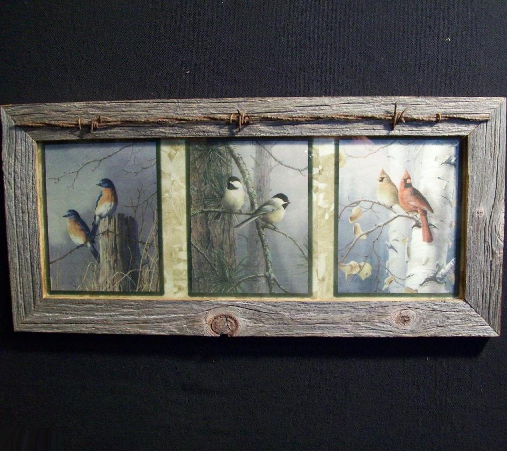 Barnwood Framed Bluebird Chickadee Cardinal Rustic Picture