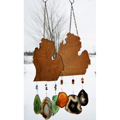 Agate Wind Chimes Strung On Lower Michigan Shaped Wood