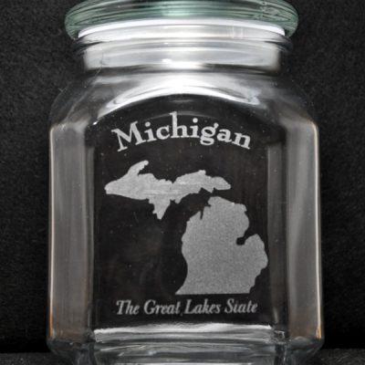 Laser Engraved Michigan Candy Jar