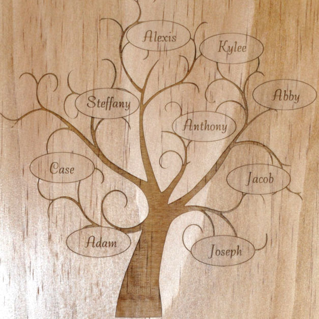 laser engraved family tree plaque. Black Bedroom Furniture Sets. Home Design Ideas