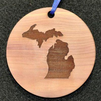 Michigan Map Cedar Gift Tag Ornament