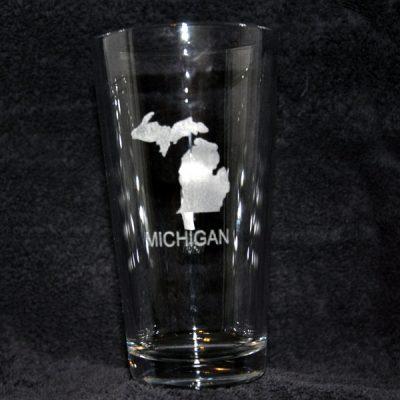 Laser Engraved Michigan Beverage Glass