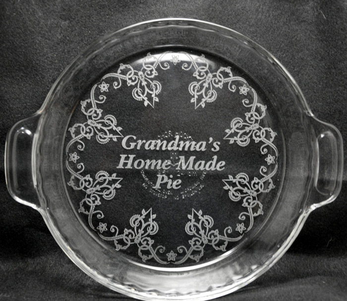 Engraved Pie Plate & Laser Engraved Pie Plate