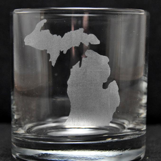 Laser Engraved Michigan Rocks Glass