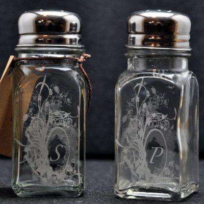 Laser Engraved Floral Salt and Pepper Shakers