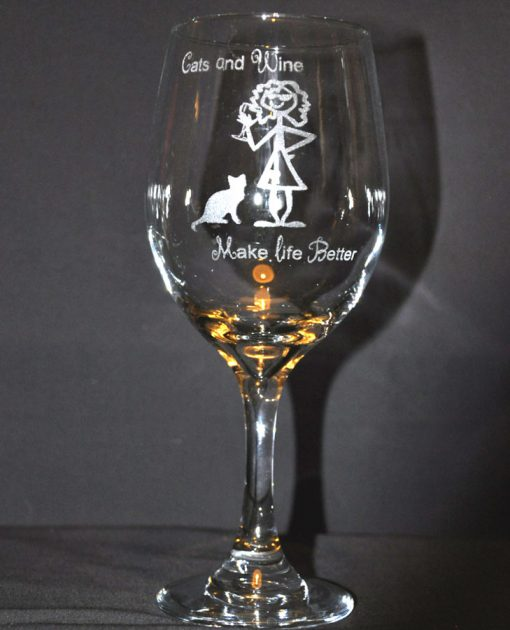 Cats and Wine Make Life Better Wine Glass