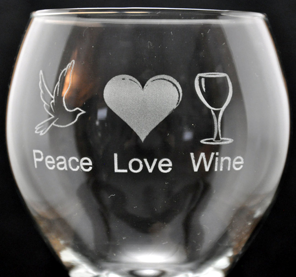 Laser Engraved Peace Love Wine Glass