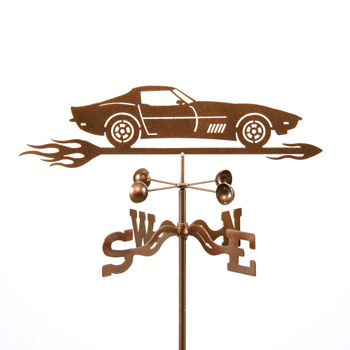 C3 Corvette With Flames Weathervane