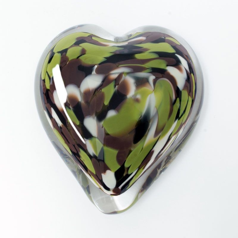 Forest Camo Blown Glass Heart Paperweight