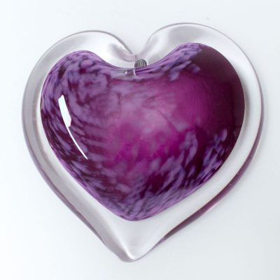 Plum Parfait Blown Glass Heart Paperweight