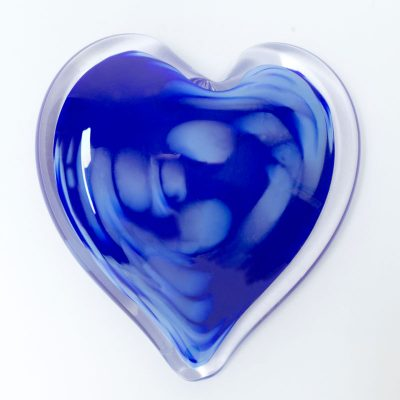 Pompeii Sky Blown Glass Heart Paperweight