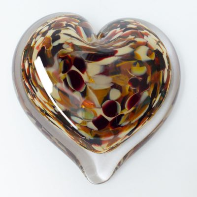 Rock Candy Blown Glass Heart Paperweight