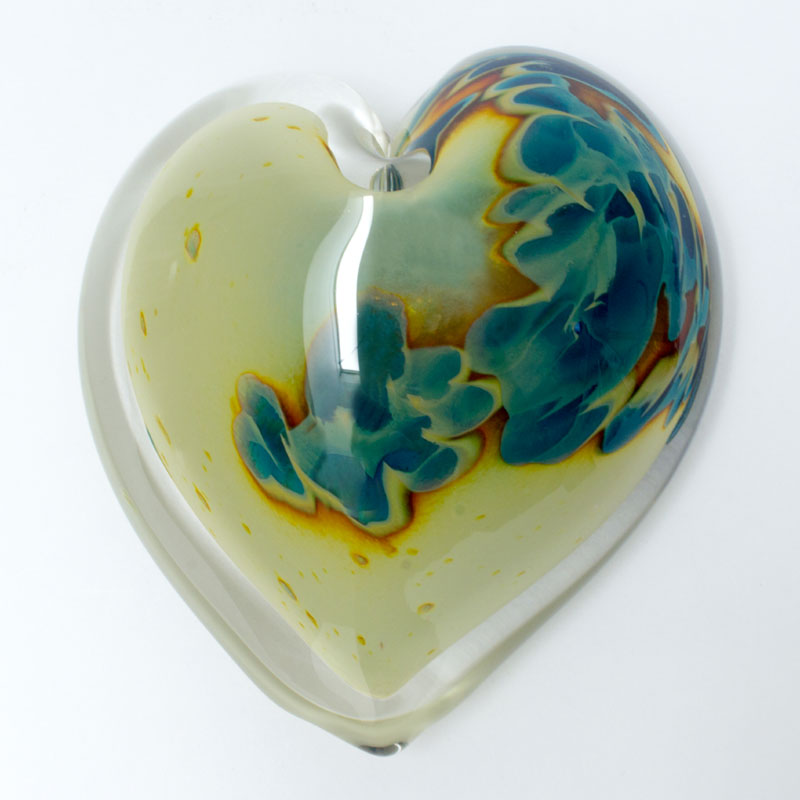 Stormy River Blown Glass Heart Paperweight