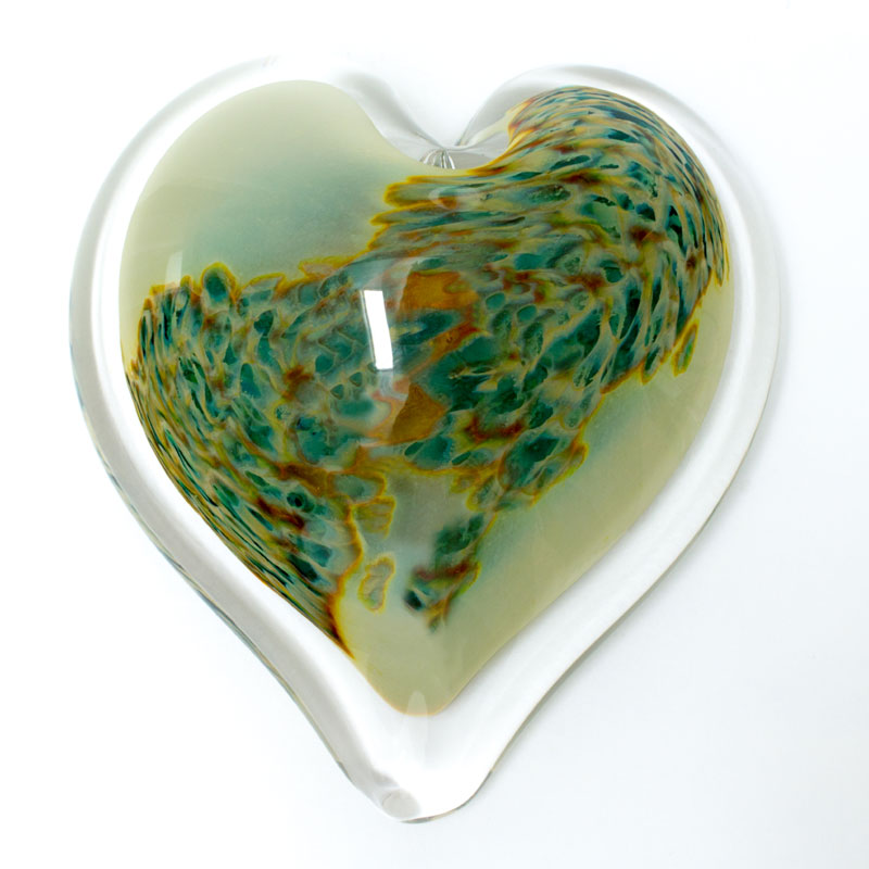 Summer Bayou Blown Glass Heart Paperweight