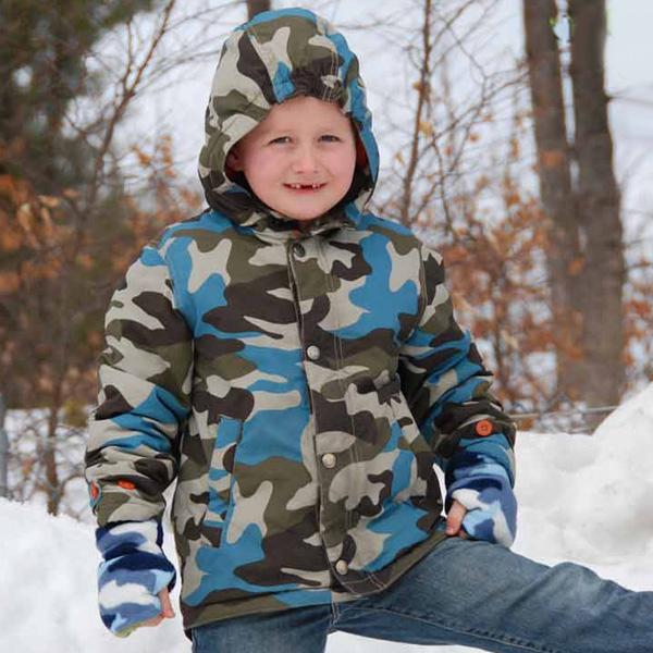 Winter Blues Reversible Fingerless Gloves