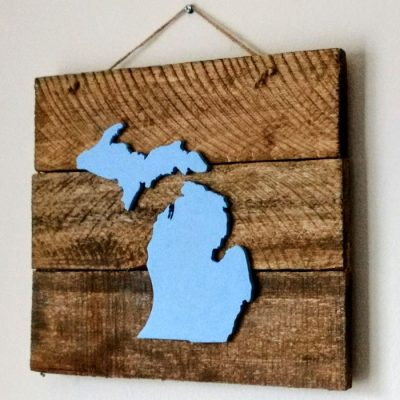 Reclaimed Wood Michigan Sign in Blue