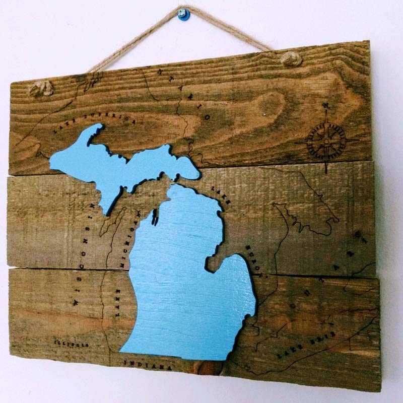 Reclaimed Wood Nautical Michigan Sign in Blue