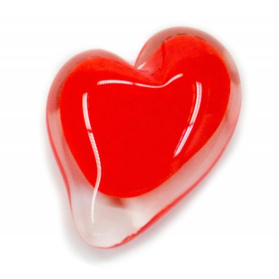 Saturday Night Red Blown Glass Heart Paperweight