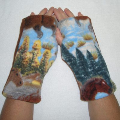 Horse Hound Print Reversible Fingerless Gloves