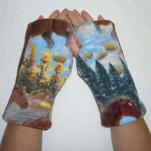 Horse Hound Print Reversible Fingerless Gloves