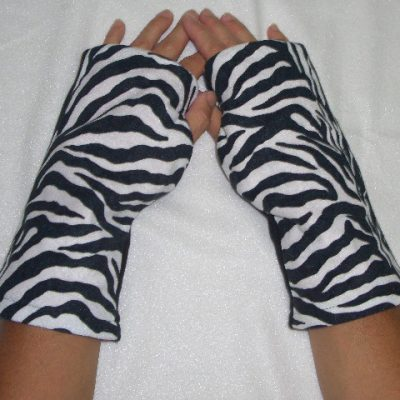 Zebra Print Reversible Fingerless Gloves Child