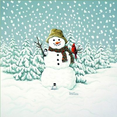 Happy Snowman Giclee Print on Wrapped Canvas by Artist Russell Cobane