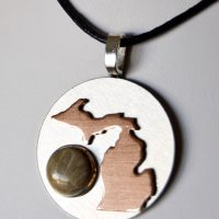 Petoskey Stone and Copper Michigan Necklace on Silver Base