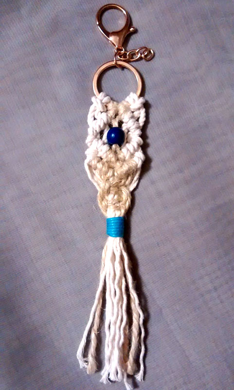 Diamond Macrame Keychain with Wooden Bead and Jute Rope