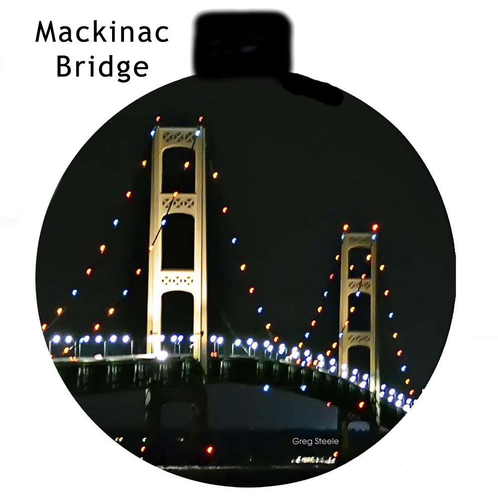 Metal Photo Ornament Night Mackinac Bridge