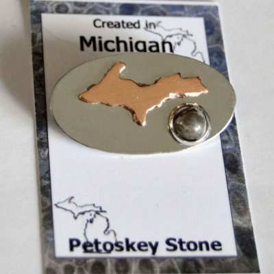 Petoskey Stone and Copper Upper Michigan Pin