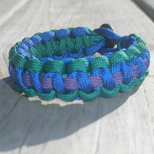 1 Stripe Paracord Bracelet Electric Blue, Turquoise, Purple