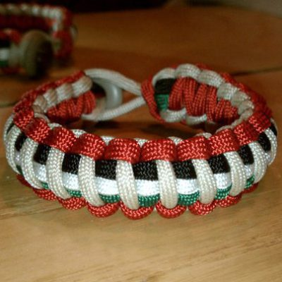 3 Stripe Paracord Bracelet Red, White with Black, White, Kelly Green Stripes
