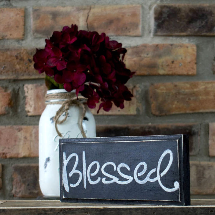 Rustic Shabby Chic Black Blessed Sign