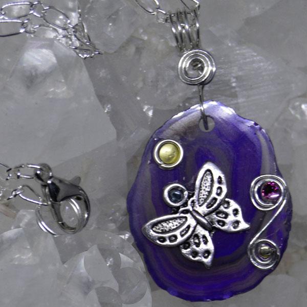 Agate Slice Butterfly Pendants